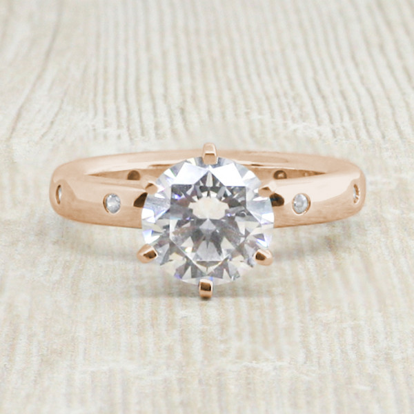 Discontinued Comet Theater with 1.67 Carat Round Brilliant Center - 14k Rose Gold - Ring Size 5.75