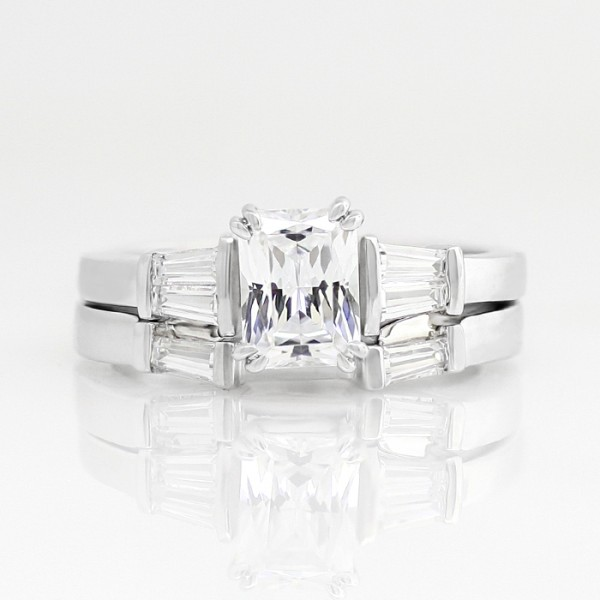 Lorelai with 1.74 carat Radiant Center and One Matching Soldered Band - 14k White Gold - Ring Size 9.75