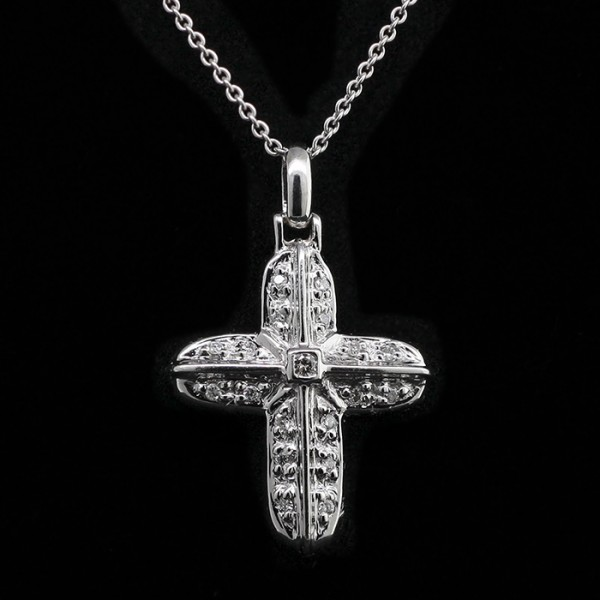 Rounded Cross Pendant - 14k White Gold