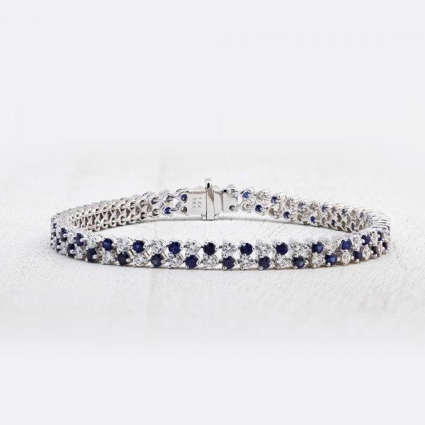 Crystal Rain Bracelet with Sapphire Accents - 14k White Gold