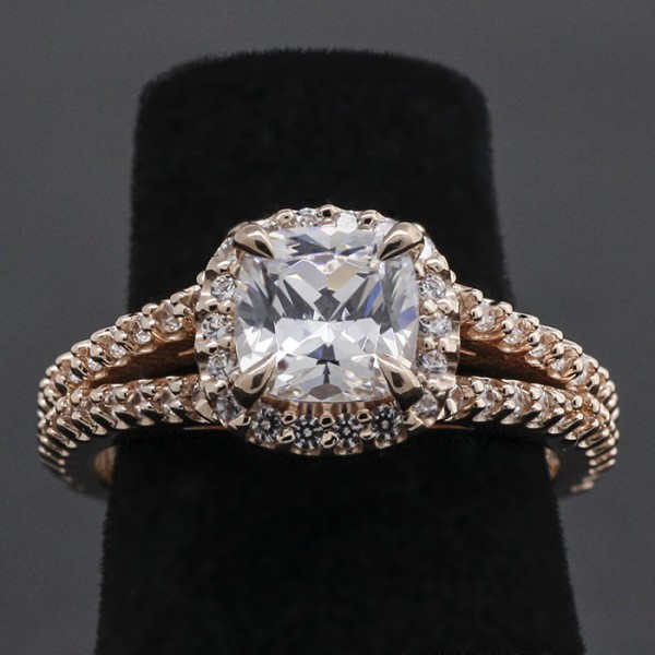 Custom Engagement Ring with 1.03 Cushion cut Center - 14k Rose Gold - Ring Size 7.0