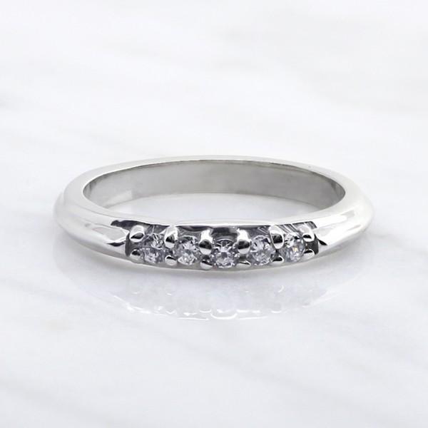 Custom 5-Stone Band - 14k White Gold - Ring Size 5.0-8.5
