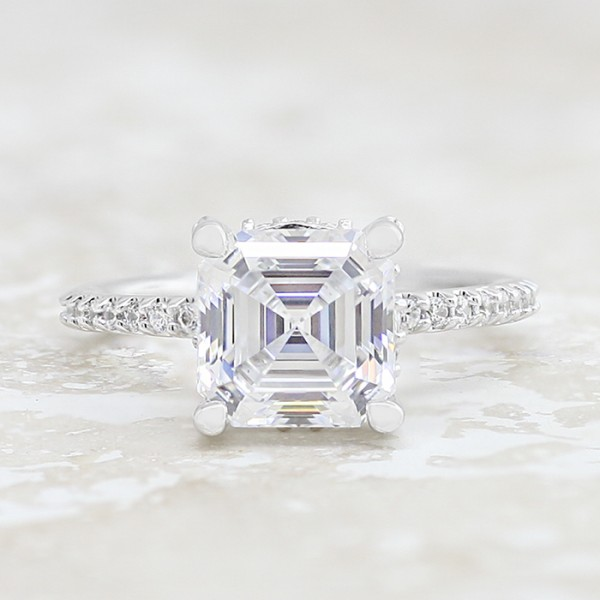 Classic Four Prong Ring With 3.01 carat Asscher Center - 14k White Gold - Size 5.50