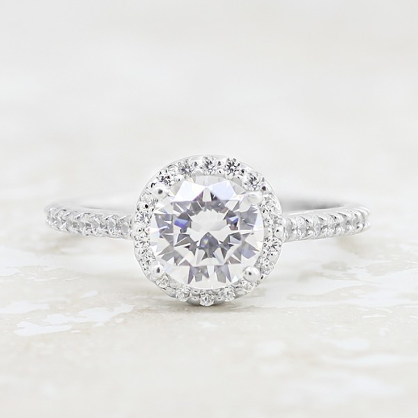 Cathedral-Set Halo with 1.49 Round Brilliant Center- Platinum - Size 7.50