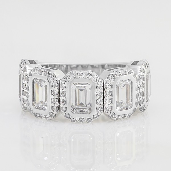 Multi-Stone Emerald Halo Wedding Band with 5.3 Total Carats - 14k White Gold - Ring Size 7.0
