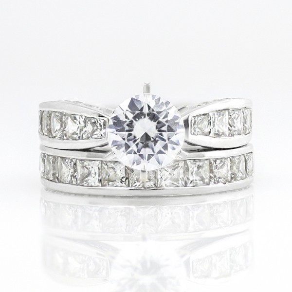 Retired Model Deco with 2.04 carat Round Brilliant Center and One Matching Band - 14k White Gold - Ring Size 8.75-11.75