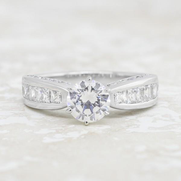 Deco with 1.49 carat Round Brilliant Center - Platinum - Ring Size 9.0