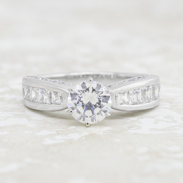 Retired Model Deco with 3.05 carat Round Brilliant Center - Palladium - Ring Size 7.5