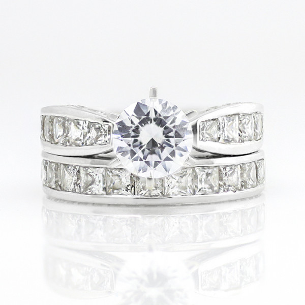 Retired Model Deco with 2.04 carat Round Brilliant Center and One Soldered Matching Band - 14k White Gold - Ring Size 5.25
