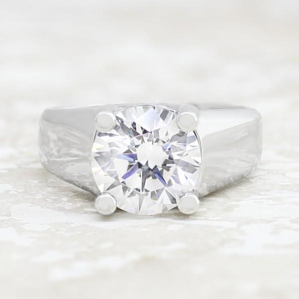 Trellis-Set Solitaire with 3.05 carat Round Brilliant Center - Platinum - Ring Size 6.25