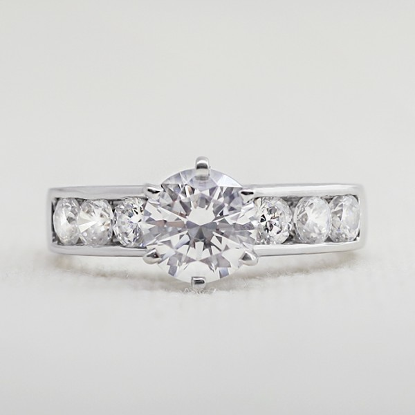 Diamond Diva with 1.28 carat Round Brilliant Center - 14k White Gold - Ring Size 5.25-7.25