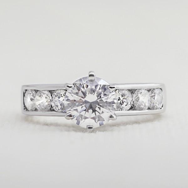 Diamond Diva with 2.04 Carat Round Brilliant Center - 14k White Gold - Ring Size 6.0-8.0