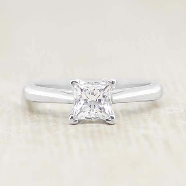 Cathederal Solitaire with 0.71 carat Princess Center - 14k White Gold - Ring Size 4.25-6.5
