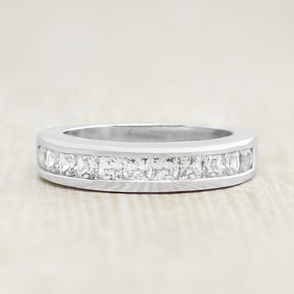Channel Set Princess Cut Stones in Band - 14k White Gold - Ring Size 6.0