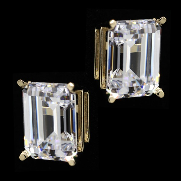 Emerald Cut Studs, Tension Back, Basket Set - 3.21 Carats Each - 14k Yellow Gold