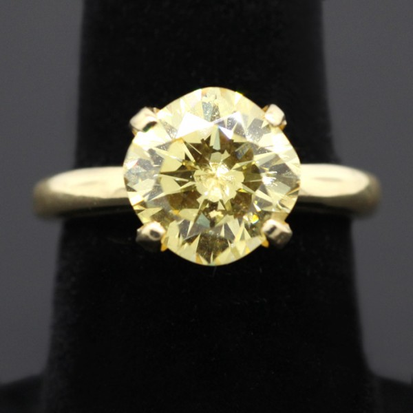 Tiffany Solitaire with Canary Cushionin - Kite Setting - Ring Size 4.5