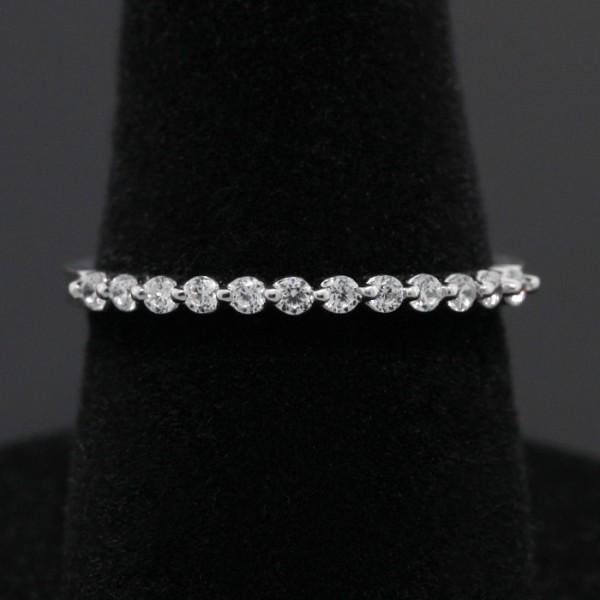 Semi-Eternity Band - 14k White Gold - Ring Size 6.25