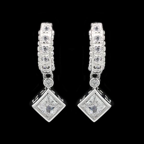 Princess Cut, Kite-Set, Drop Earrings - Sterling Silver