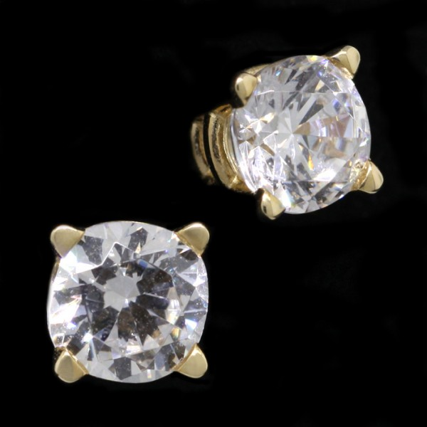 Cushion Cut Studs, Tension Back, Basket Set - 0.46 Carats Each - 14k Yellow Gold