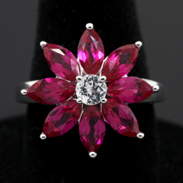 Pink Marquise Cut Flower Ring - Sterling Silver - Ring Size 7.0
