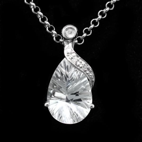 Pear Cut, White Topaz Pendant - Sterling Silver