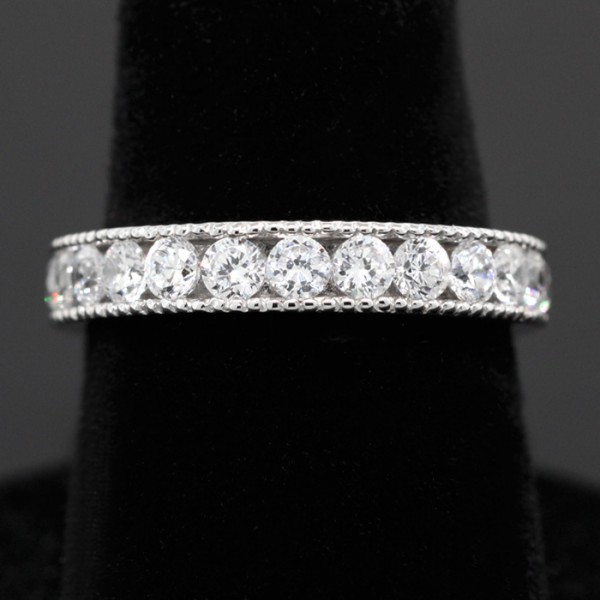Milgrain Detailed Eternity Band - 14k White Gold - Ring Size 5.75