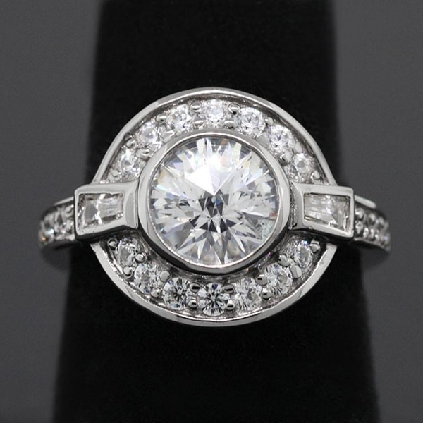 Semi-Antique Rose Cut Round Brilliant with Halo - Lorian Platinum - Ring Size 5.0
