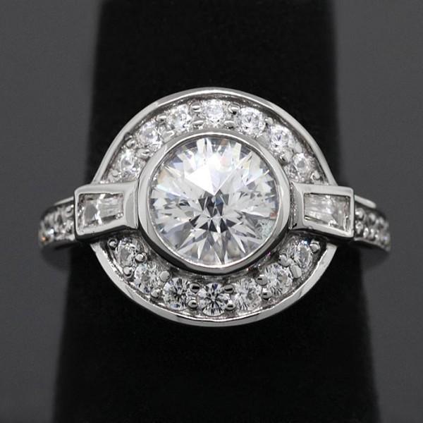 Semi-Antique Rose Cut Round Brilliant with Halo - Lorian Platinum - Ring Size 7.75