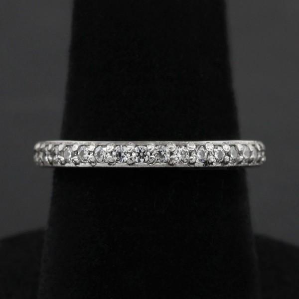 Slender Round Brilliant Eternity Band - 14k White Gold - Ring Size 5.5