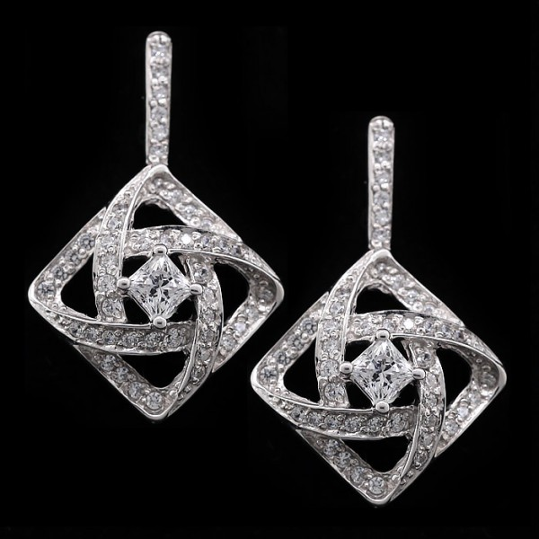 Mimza Earring with White Accents - Lorian Platinum