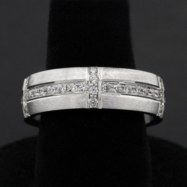 Cross Pattern Accented Ring - 14k White Gold - Ring Size 10.25