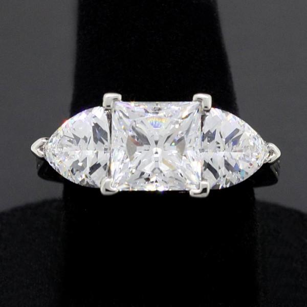 Ornate 3.01ct Princess Cut with Trillion Cut Accents - Palladium - Ring Size 7.5