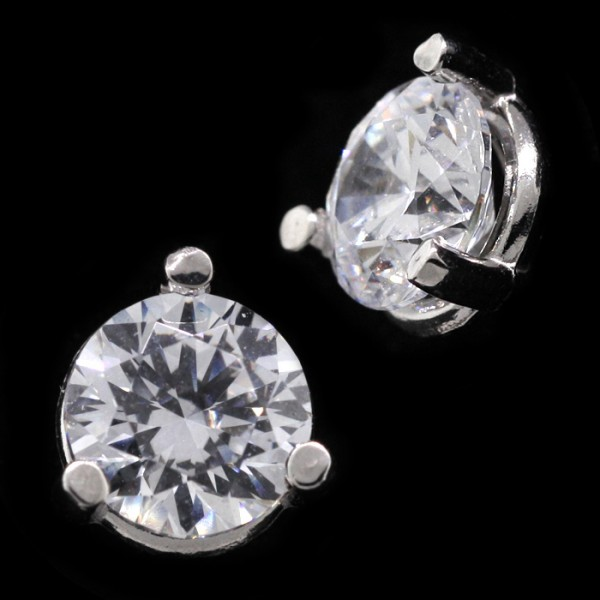 Round Cut Studs, Screw Back, Martini Set - 0.46 Carats Each - Platinum