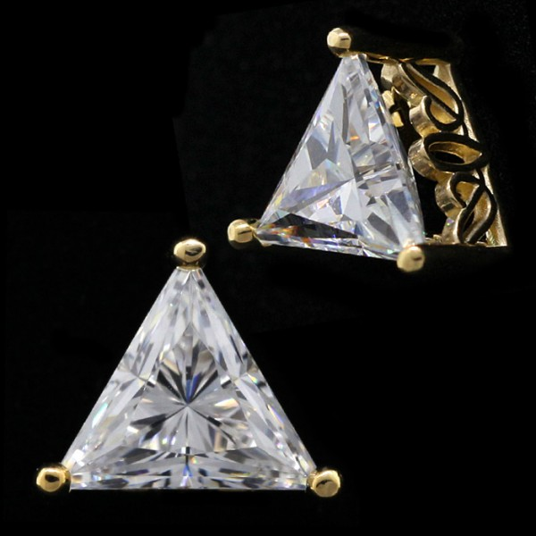 Triangle Cut Studs, Tension Backs, Filigree Set - 0.94 Carats Each - 14k Yellow Gold