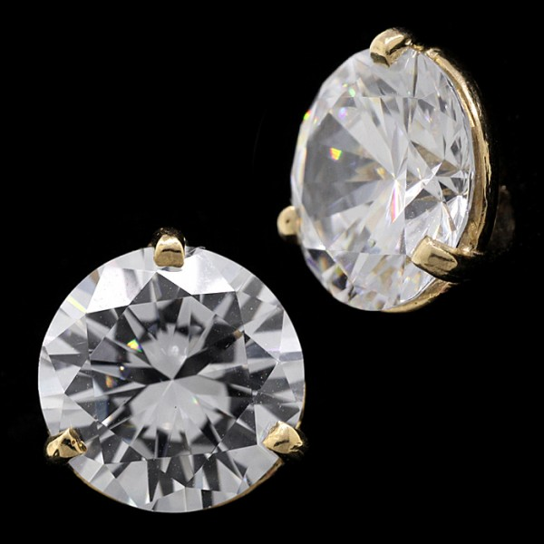 Round Brilliant Martini Set, Screw Back Studs - 14k Yellow Gold - 4.91cts Each