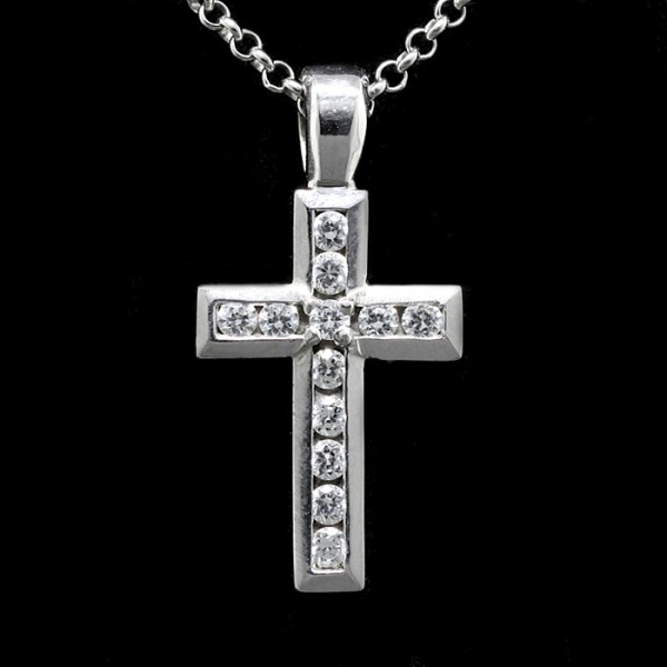 Round Brilliant Cross Pendant - Sterling Silver