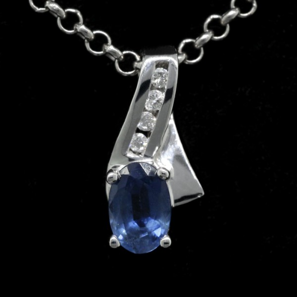 Sapphire Oval Cut Pendant - Sterling Silver