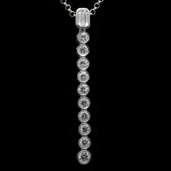 Serpentine Pendant - 14k White Gold
