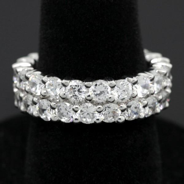 Double Eternity Band - 14k White Gold - Ring Size 6.0