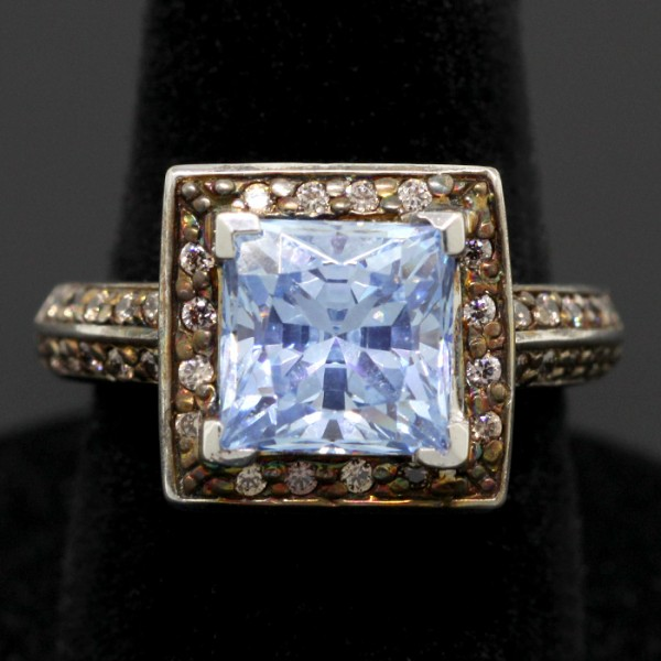 Princess Cut Glacial Ice with Chocolate Accents - 14k White Gold - Ring Size 6.75