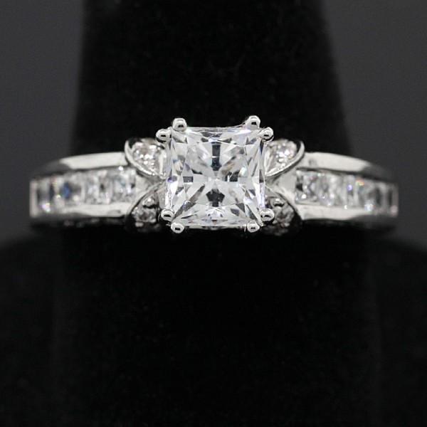 Ornate Princess Cut Ring - Lorian Platinum - Ring Size: 7.0