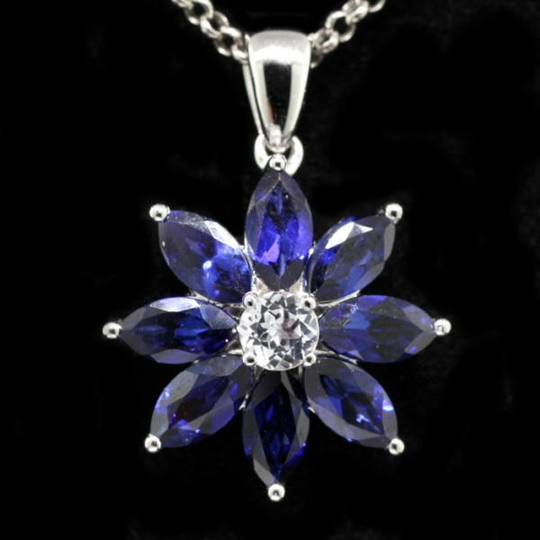Blue Marquise Cut Flower Pendant - Sterling Silver