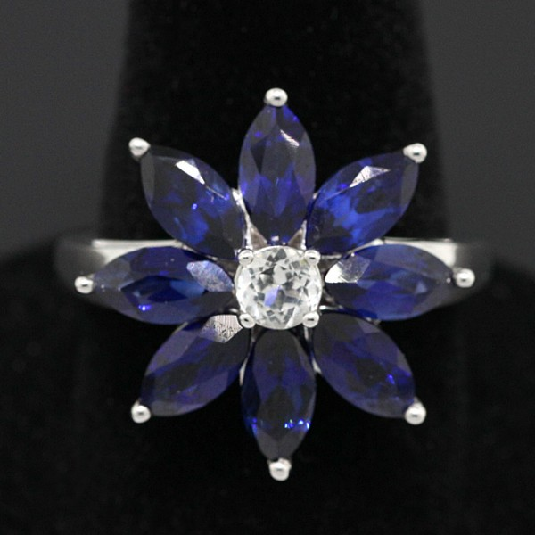 Blue Marquise Cut Flower Ring - Sterling Silver - Ring Size 7.0