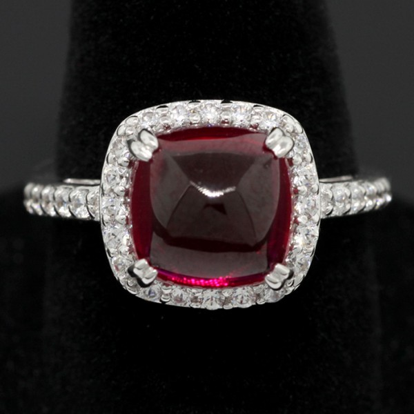 Dome Ruby Stone with White Accents - Silver