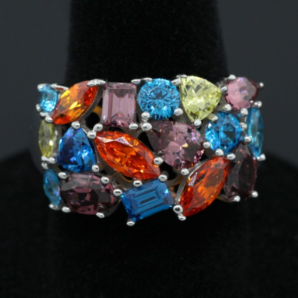 Multi-Color and Cut Ring - Sterling Silver - Ring Size 7.0