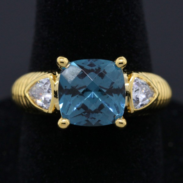 Teal, Modified Cushion Cut Ring - Sterling Silver and 14k Yellow Gold - Ring Size 7.0