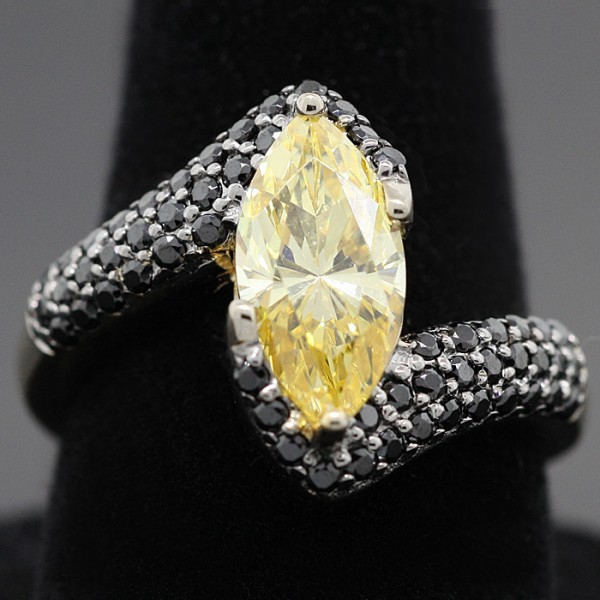 Canary Marquise with Black Accents Ring - Sterling Silver and Yellow Gold - Ring Size 7.0