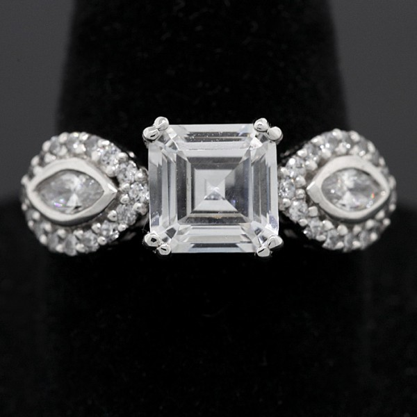Vintage Inspired Asscher Cut Ring - Sterling Silver - Ring Size 8.0