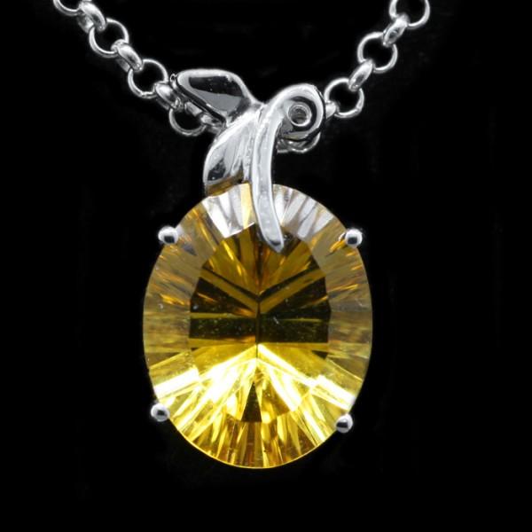 Oval Cut, Citrine Peach Pendant - 14k White Gold