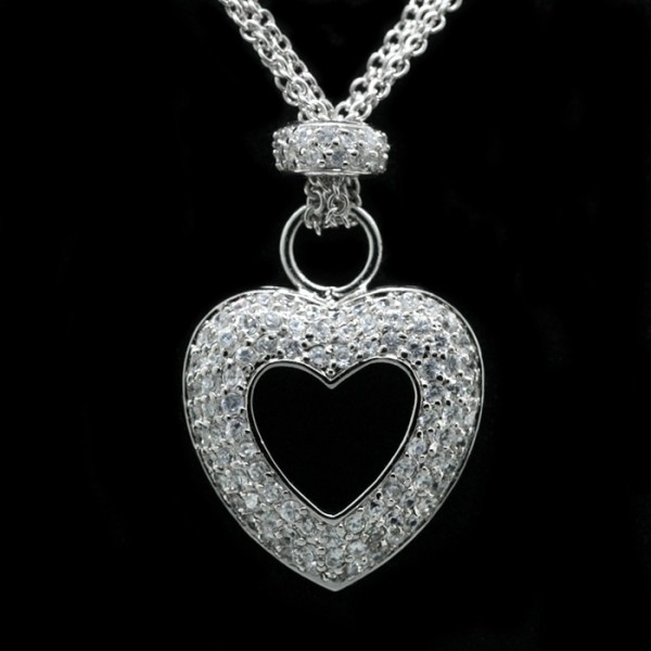 Pave Heart Pendant with Chain - Stering Silver